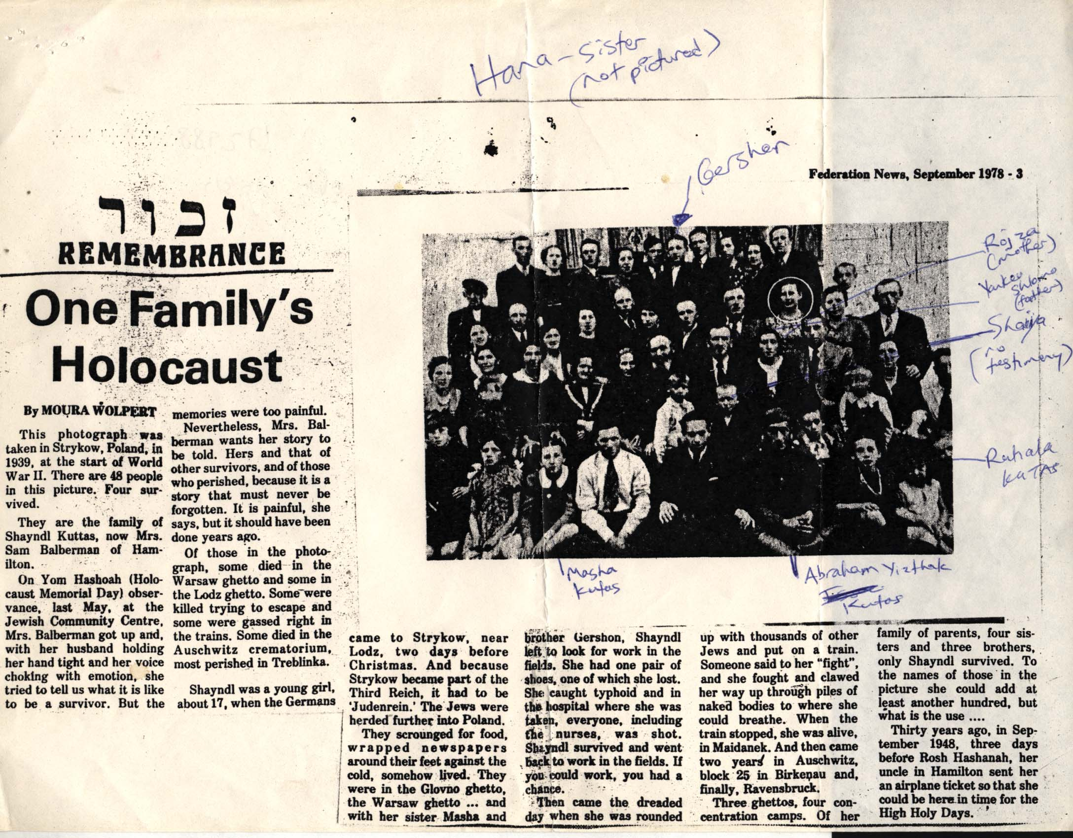 "Zeitungsartikel ""One Family's Holocaust"", Federation News, September 1978"